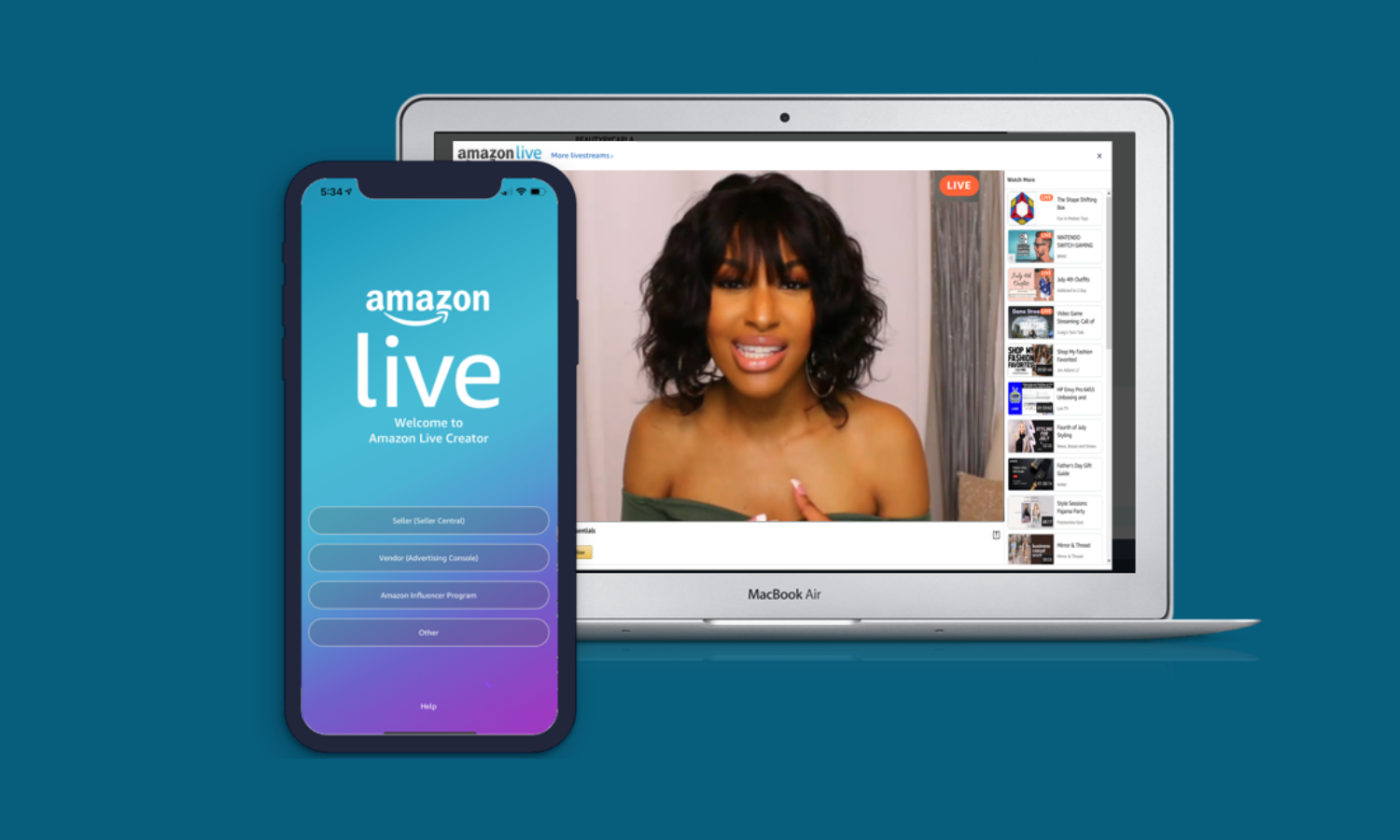 Streaming with Amazon Live is free and self service through the Amazon Live Creator app